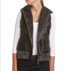 MIILLA Faux Leather Vest with Shearling Lining
